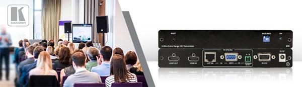 Kramer передает HDMI и RS-232 по витой паре, двухжильному или VGA-кабелю