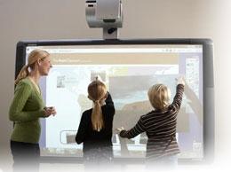 вы можете заменить установленный экран интерактивной доской, или разместить экран над доской.